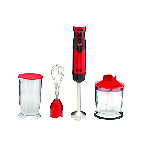 Sensio Home 1000W Super Powerful Hand Blender 4-in-1 Stainless Steel Stick Immersion Blender with 700ml Mixing Beaker, 500ml Food Chopper, Stainless Steel Whisk, Variable Speeds for Baby Food, Mash