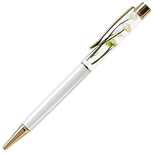 花 まりか ギフト ハーバリウム ボールペン 替え芯付き ボタニカル ハーバリウム ボールペン プレゼント (D.リンフラワー【ホワイト】)