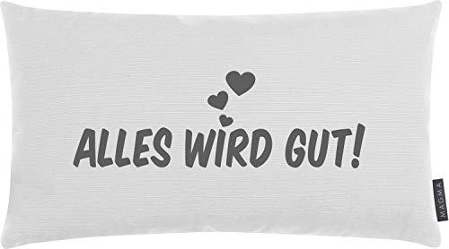 SITTING POINT only by MAGMA Zierkissen/Kissen Alles Wird GUT ca. 25 x 45cm. Made in Germany Ökotex-Zertifiziert (Weiss)