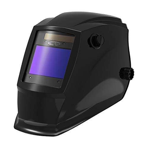 """TOPDC Solar Power Auto Darkening Welding Helmet with Optical Class 1/1/1/2, Viewing Area 3.93""""X2.63"""", Shade Range 4/5-9/9-13 with Grinding Feature for TIG MIG MMA Plasma"""