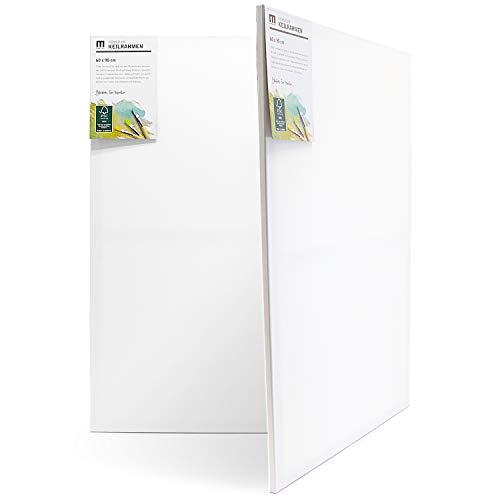 1 Stk 60x90cm Künstler-Leinwand Canvas zum Bemalen. Die leere, weiße Leinwand aus 100% Baumwolle ist umlaufend aufgespannt auf FSC® Holz-Keilrahmen mit 17mm Stärke, 280g/m², 2-fach weiß grundiert