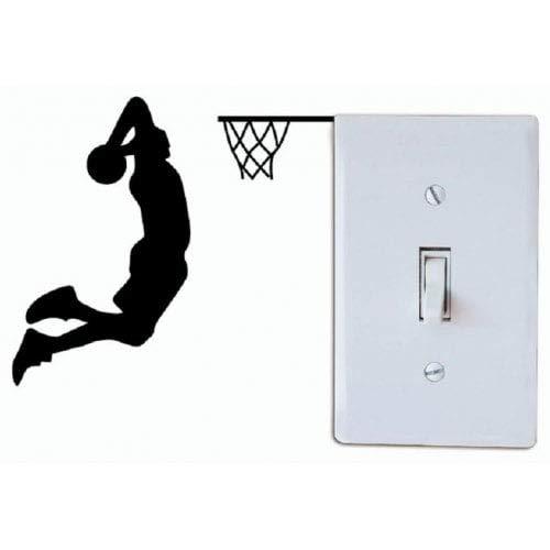 ExcLent Jugador De Baloncesto Dunk Silhouette Interruptor De Luz Etiqueta De Dibujos Animados Deporte Vinilo Decoración De Pared - Negro 11 X 12 Cm