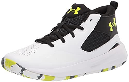 Under Armour Grade School Lockdown 5, Zapatillas de bsquetbol Unisex Adulto, Blanco Black High Vis Yellow 102, 40 EU