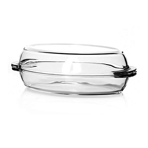 Glass Casserole Dish with High Lid, Baking Dish for Oven, Clear Oval Cookware, 61 oz
