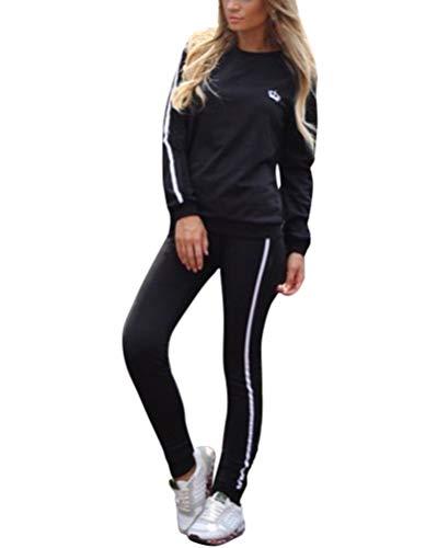 Minetom Damen Mode Streifen Trainingsanzug Frauen Lange Ärmel Zipper Top + Lange Hose Sportswear 2 Stück Set Sport Yoga Outfit Schwarz DE 40