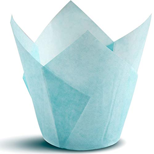 Tulip Cupcake Liners, Natural Baking Cups for Standard Size Cupcakes and Muffins Liners (300, Blue)