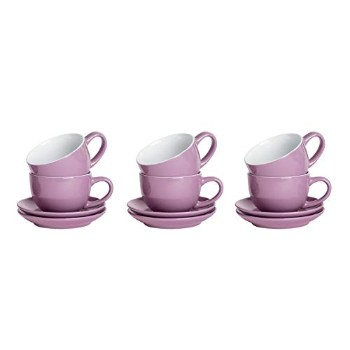 Argon Tableware 12 Piece Coloured Cappuccino Cup and Saucer Set - Modern Style Porcelain Tea and Coffee Cups - Purple - 250ml