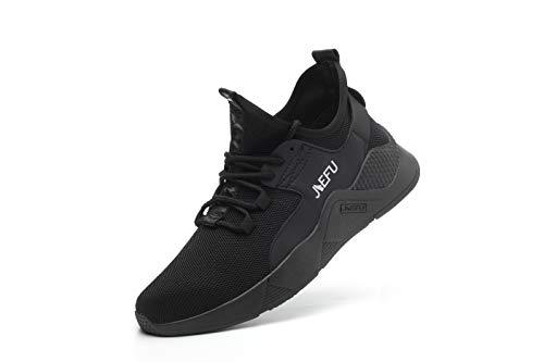 Ligeros Hombres Mujeres Zapatos de Seguridad de los Dedo de Acero Transpirable de Trabajo Zapatillas de Deporte, color Negro, talla 38 2/3 EU