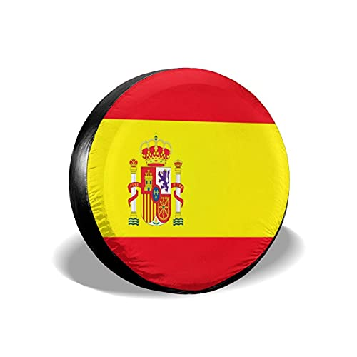 N\A Bandera de España Cubierta de neumático de Repuesto Poliéster Protector Solar Universal Cubiertas de Rueda Impermeables para Jeep Trailer RV SUV Camión y Muchos vehículos