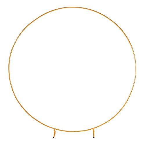 DXDUI Circle Wedding Decorative Arch Flower Shelf Background Decoration Props Arch Made of Iron Suitable for Weddings Birthday Parties Party Baby Shower,Gold,2m