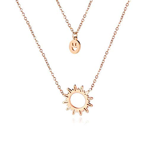 Colgante chapado en oro para mujeres y niñas de acero inoxidable joyería de moda doble sonriente sol clavícula collar