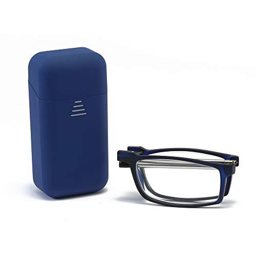 KoKoBin Pieghevole Anti Luce Blu Occhiali da Lettura Per uomo e donna con fionda specchio telescopico gambe con una scatola portatile Per viaggiare (blu, 3.0)