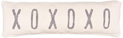 Mud Pie Washed Canvas XOXOXO Long Pillow 4163015, Tan