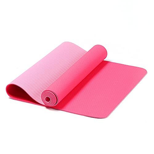 GWGW Almohadilla de Yoga Almohadilla de Fitness Antideslizantes de Dos Colores Almohadilla móvil de Salto de Saltos de la Cuerda de la Cuerda de la Cuerda de Yoga(183 * 61 * 0.6cm,Rosa Dos Colores)