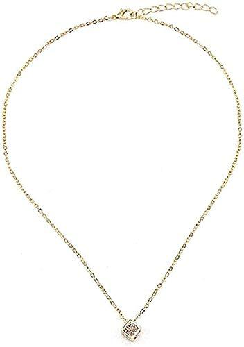 LBBYLFFF Collar Moda - Llavero de Zirconita Cuadrado para Enviar Regalos a la Novia