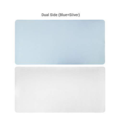 DM&FC Pu Mouse Pad Wasserdicht, Verlängert Nicht-Slip Desk-pad-Protector Dual-use Schreibtisch Schreibtisch Büro-schreibunterlage Für Office Home-blau + Silber 90x45cm(35x18inch)