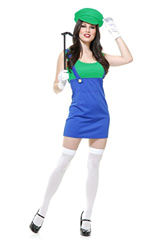 Charades Women's Patty The Plumber Adult Sized Costumes, Blue/Green, Small