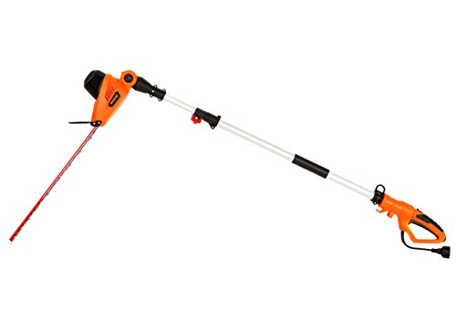 GARCARE Corded Pole Hedge Trimmer 4.8-Amp with 20-Inch Laser Cutting Blade, Blade Cover Included