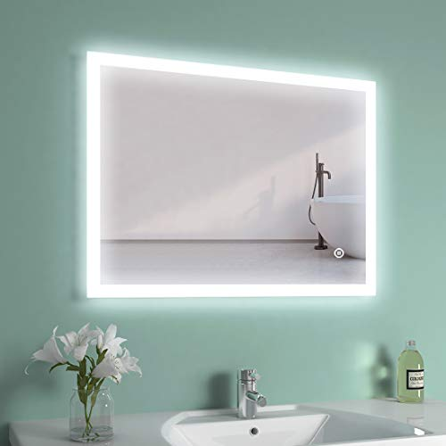 EMKE LED Badspiegel 80x60cm Badspiegel mit 3 Lichtfarbe 3000-6400K Badezimmerspiegel mit Touchschalter + Beschlagfrei IP44 energiesparend