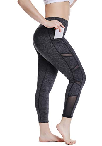 YOHOYOHA Women's Yoga Pants Plus Size Breathable Mesh Splice Tummy Control Best Long Workout Fitness Pants for 4 Way Stretch Grey