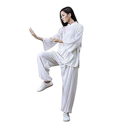 WGXY Damen Tai Chi Uniform Kleidung Chinesische Baumwolle Dreiviertelärmel Tai Chi Kleidung Kunst Flügel Chun Shaolin Kung Fu Taekwondo Qi Gong Kampfkleidung,Weiß,S