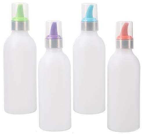 Lawei 4 Stück Squeeze Flasche Quetschflasche Gerwüzflasche mit Deckel & Farbigen Spitzen für Soße Sojasauce Gewürz - 450ml