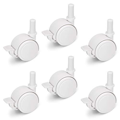 FabiMax Juego de ruedas de parquet (6 unidades) con freno para muebles infantiles, color blanco