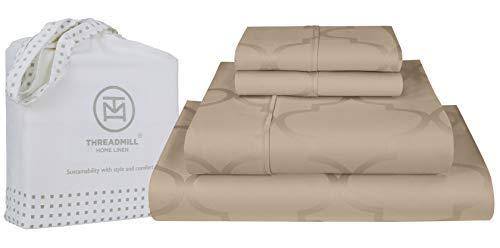 300hilos 100% juego de sábanas de algodón, cama de lujo, juego de 4piezas, Hotel Collection ropa de cama, 100% algodón liso satén tejido, blanco, King, por threadmill Home lino