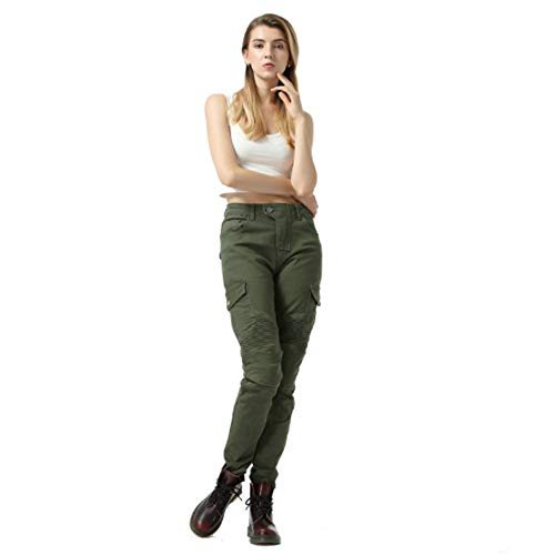 Women's Motorcycle Denim Trousers, with Protective Equipment, Anti-fall Straight-leg Jeans, Motorcycle Racing Motorcycle Trousers