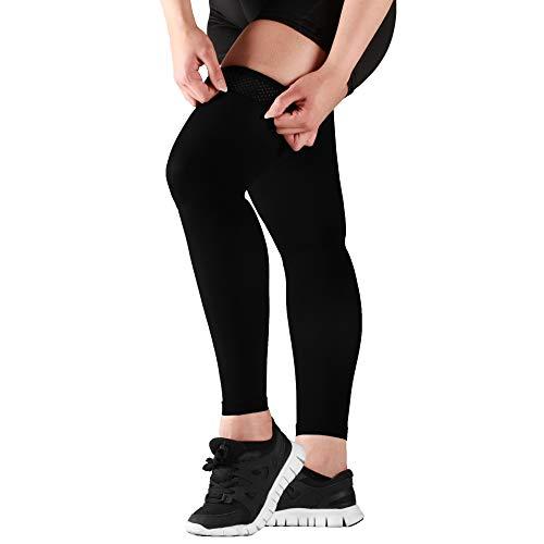 MoJo Sports manga de compresión para muslos y pierna completa, para soporte y recuperación, ideal para tratar lesiones de los tendones y de los cuádriceps, manga de compresión para los tendones, 5XL, Negro