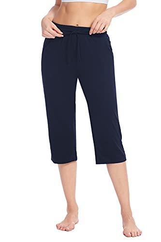 Poetsky Ladies Capri Pants Loose Comfy Elastic Drawstring Waist Lounge Yoga Sweatpants Crop Wide Leg Pants with Pockets (Navy Blue, M)
