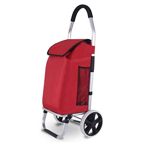 Bolsas De Carreras De 2 Ruedas, Equipadas con Grandes Ruedas Sin Ruido, Utilizadas para La Compra De Supermercados, Llevar Equipaje, Viajes Al Aire Libre (Color : Red)