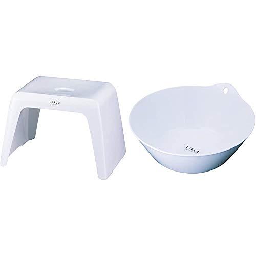 アスベル 風呂椅子 リアロ 高さ25cm Ag 抗菌 ホワイト & リアロ湯おけ ホワイト【セット買い】