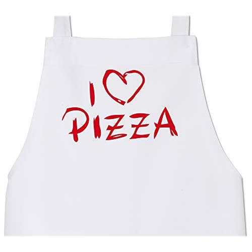 Shirtracer Schürze mit Motiv - I love Pizza - 80 cm x 73 cm (H x B) - Weiß - kochschürze pizza - X967 - Schürze und Kochschürze für Erwachsene
