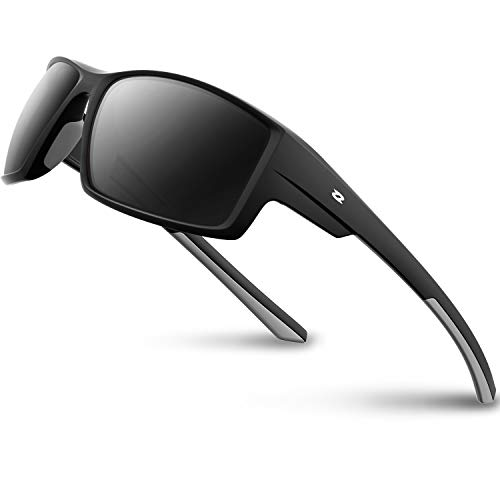RIVBOS Polarized Sports Sunglasses Driving Glasses shades For Men Women TR90 Unbreakable Frame For Cycling Baseball RB831 (RB861-Black&Grey)