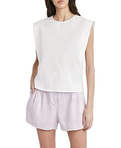 BCBGMAXAZRIA Flutter Sleeve Crop Blouse Camisa, Blanco Roto, XL para Mujer
