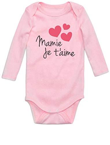 Mamie Je t'aime Cadeau Mamie Original Body Bébé Manche Longue 12M Rose