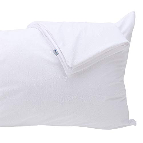 Kingnex Pack of 2 Pillow Protectors Standard Size - 100% Waterproof - Down Feather Proof - Bamboo Terry Surface