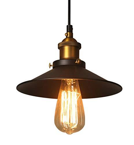Hängeleuchte Industrielle Kronleuchter Schwarz Φ22cm für E27 Kronleuchter Deckenlampe Vintage Fassung Lampenschirm aus Metall für Esszimmer Wohnzimmer Küche Schlafzimmer Restaurant Café und Bar