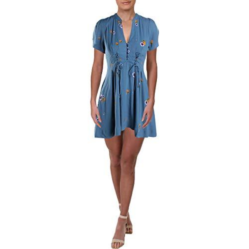 Free People Womens Dream Girl Floral Print Mini Shirtdress Blue 2