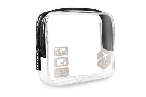 TWIVEE - Transparenter Kulturbeutel - 1 Liter - Kulturtasche zum Transport von Flüssigkeiten im Handgepäck