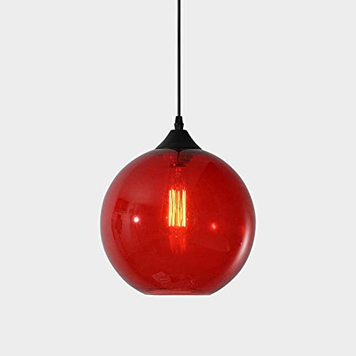 Linckry Lámpara Colgante De Luz De Bola De Cristal De 6 Colores E27 Bombilla Edison, Lámpara Colgante De Techo De Un Solo Cabezal Moderno Simplicidad Restaurante Café Accesorio De Iluminación De Techo