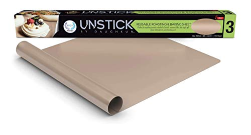 UNSTICK Premium Nonstick Baking Mat, Liner for Roasting Pan & Cookie Sheet, Reusable For Easy Cleaning, Withstands up to 500F, Non-Toxic, 100% PFOA-Free Japanese PTFE Material, 15' x 19', 1-Pack