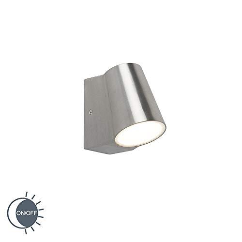QAZQA Modern Buitenlamp aluminium met licht-donker sensor incl. LED - Uma Aluminium/Glas Overig LED inbegrepen Max. 1 x 6 Watt