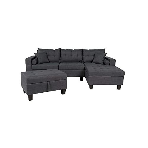Home Deluxe - Ecksofa Rom Links - Farbe Grau - 242,6 cm x 215,9 cm x 90,2 cm - inkl. Hocker | Sofagarnitur, Sofa, Couch, Wohnlandschaft