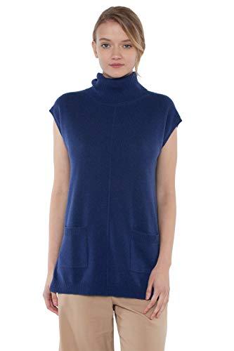 JENNIE LIU Women's 100% Pure Cashmere Sleeveless Turtleneck Hi-Lo Tunic Sweater(L, MarledBlue)
