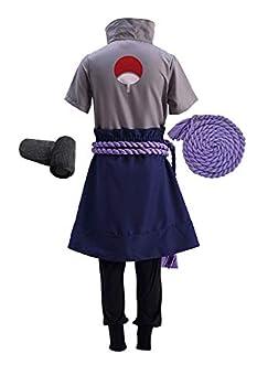 Ourcosplay Uchiha Sasuke Men s Cosplay Costume 5Pcs Include Wristbands Rope C001 Men L