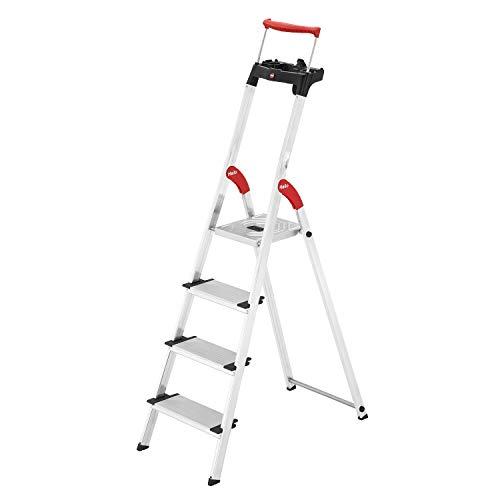 Hailo L85 ComfortLine Alu-Sicherheits-Stehleiter   4 XXL-Stufen belastbar bis...