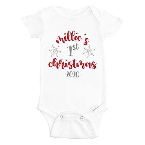 Wimly Company Babys First Christmas Onesie - Christmas Clothes for Baby - Personalized Christmas Onesies for Baby - 1st Holiday Onesie - 100% Cotton