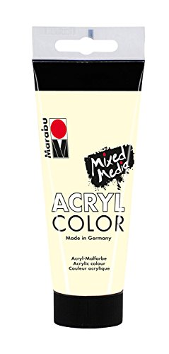 Marabu 12010050271 - Acryl Color, cremige Acrylfarbe auf Wasserbasis, schnell trocknend, lichtecht, wasserfest, zum Auftragen mit Pinsel und Schwamm auf Leinwand, Papier und Holz, 100 ml, elfenbein
